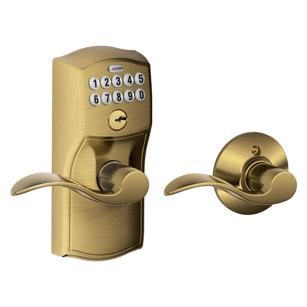 Schlage Lock Accent Antique Brass Keypad Electronic Door Lever with Camelot Trim