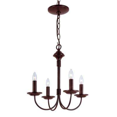 Stewart 4-Light Rubbed Oil Bronze Incandescent Ceiling Chandelier
