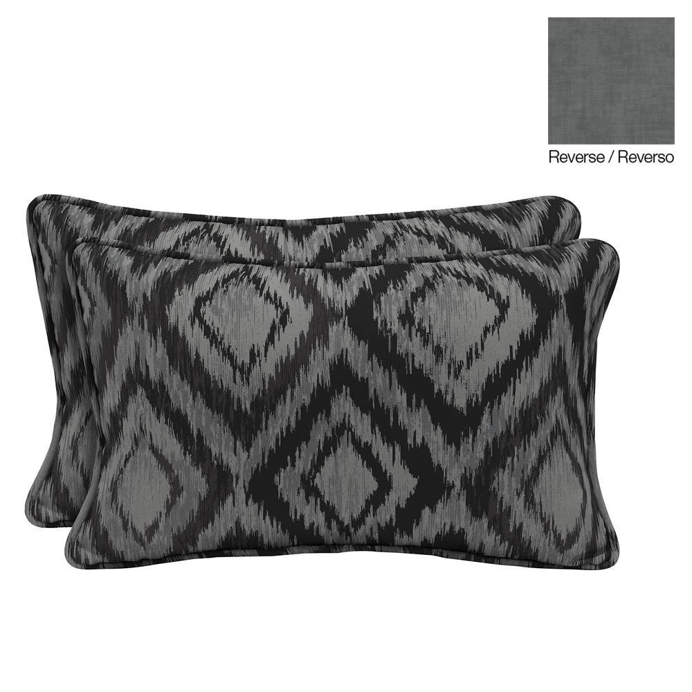 Jackson Ikat Diamond Lumbar Outdoor Throw Pillow (2-Pack)