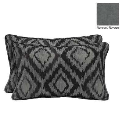 Jackson Ikat Diamond Lumbar Outdoor Throw Pillow (2-Pack)