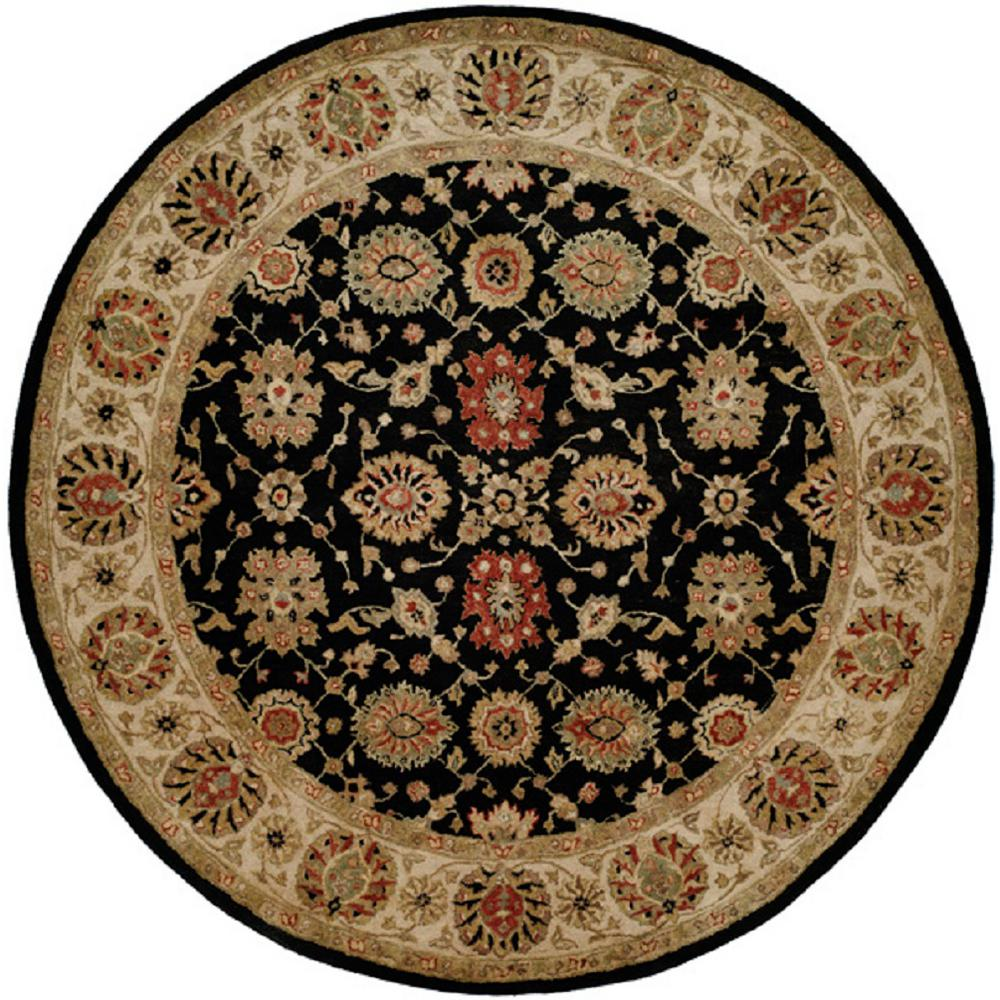 kalaty empire black ivory 4 ft round area rug em 283 r4 the home depot. Black Bedroom Furniture Sets. Home Design Ideas