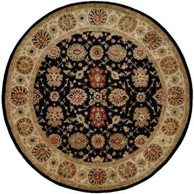 Empire Black/Ivory 4 ft. Round Area Rug