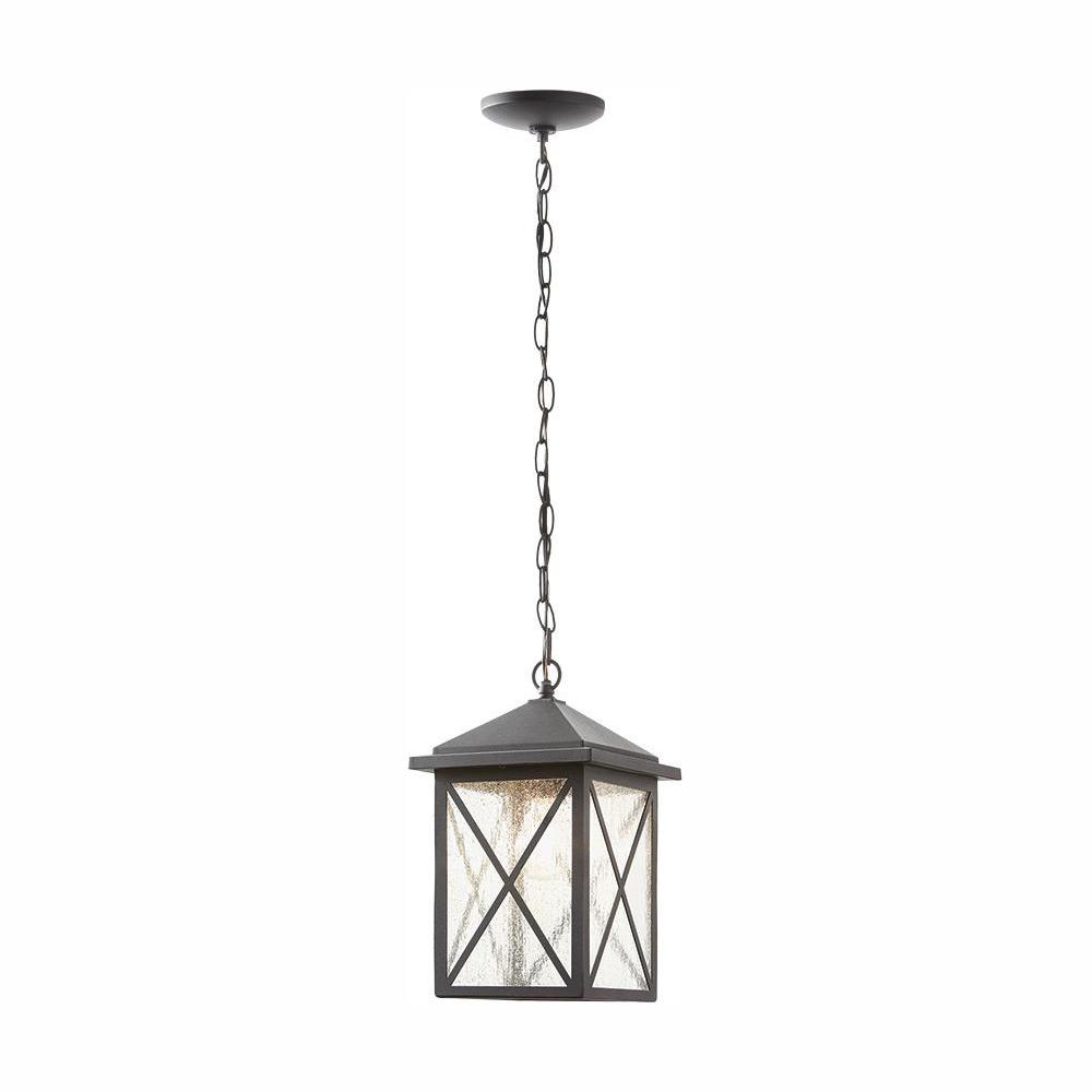 Home Decorators Collection Wythe Black 1-Light Outdoor Hanging Lantern
