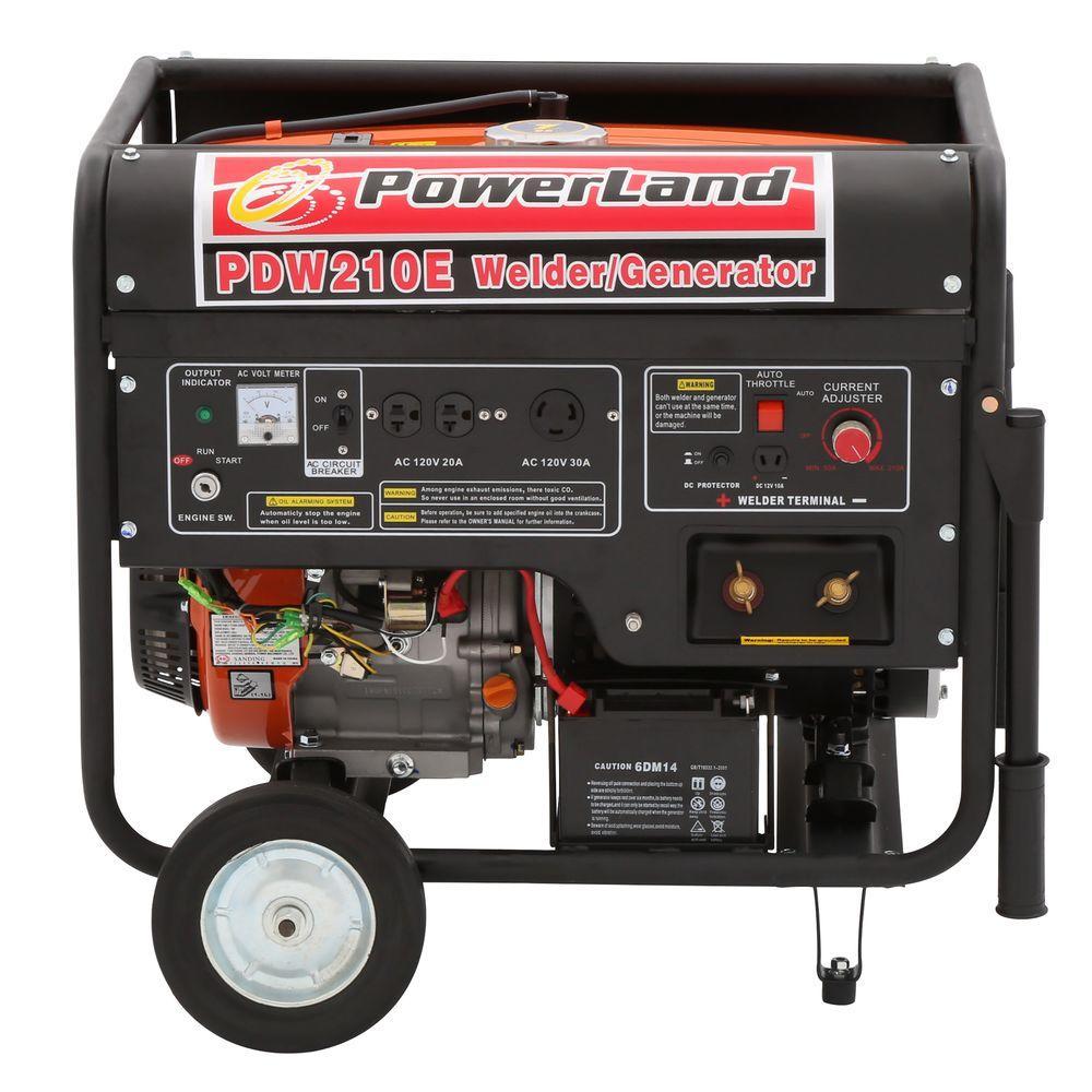 Powerland 210 Amp Welder and 4,000-Watt Gasoline Powered Generator with Electric Start
