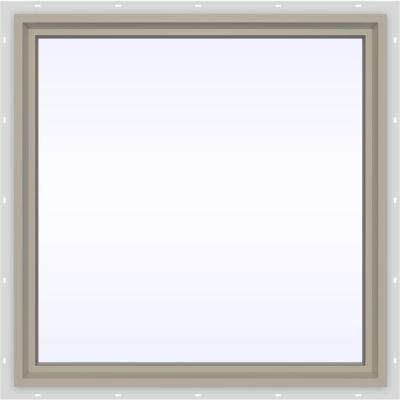 35.5 in. x 35.5 in. V-4500 Series Fixed Picture Vinyl Window in Tan