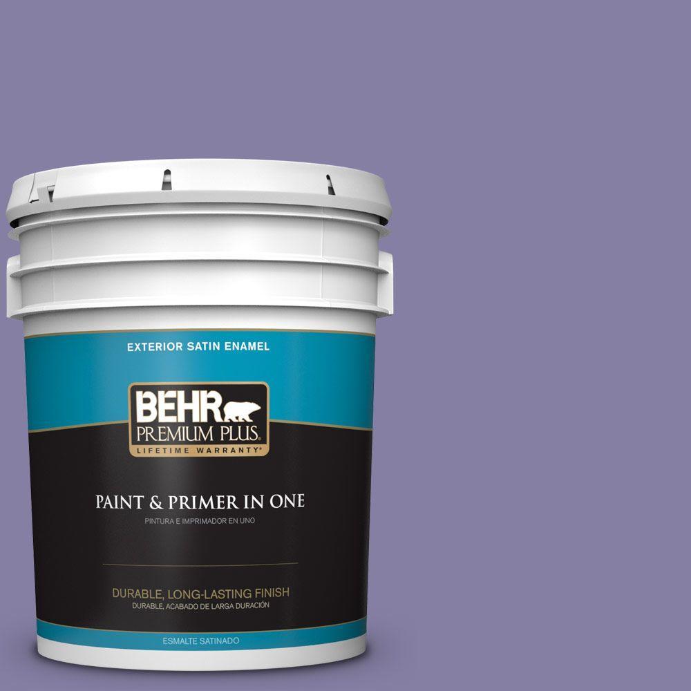 BEHR Premium Plus 5-gal. #640D-6 Chinese Violet Satin Enamel Exterior Paint