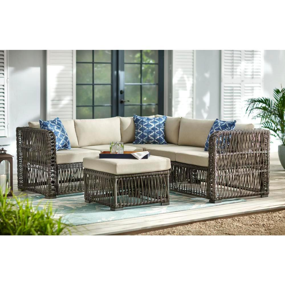Sensational Hampton Bay Grand Isle 4 Piece Wicker Outdoor Patio Sectional Seating Set With Beige Cushions Theyellowbook Wood Chair Design Ideas Theyellowbookinfo
