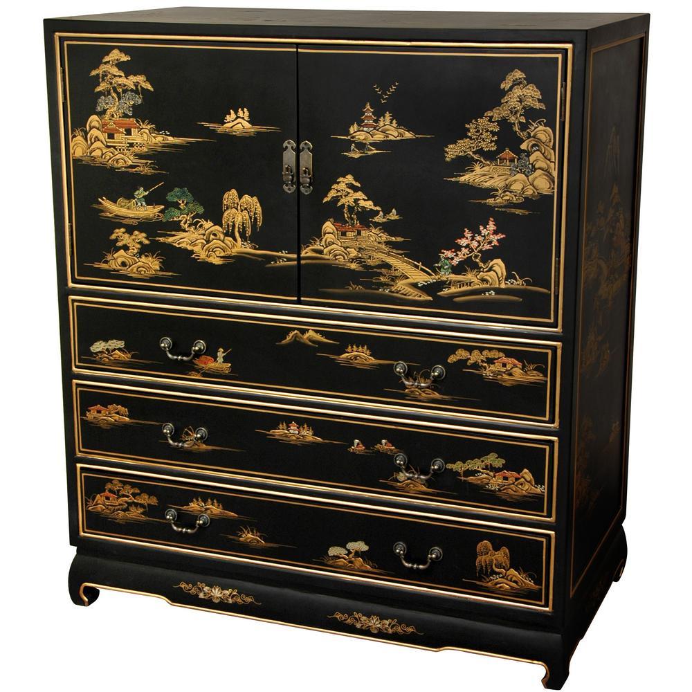 Oriental Furniture Black Lacquer Dresser