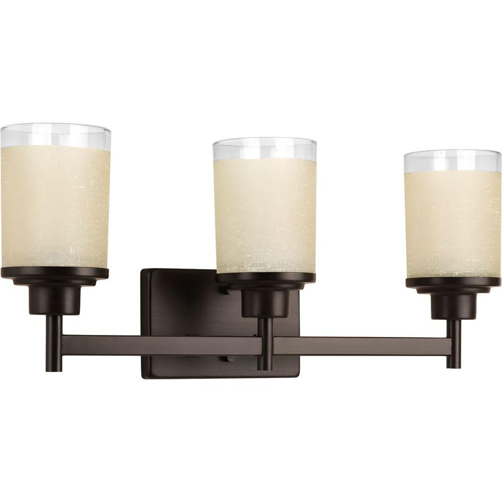 Alexa Collection 3-Light Antique Bronze Vanity Light with Etched Umber Linen