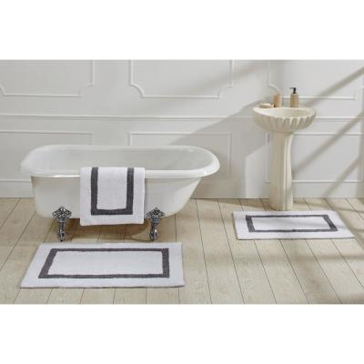 Hotel Collection 24 in. x 40 in. White and Grey Cotton Bath Mat