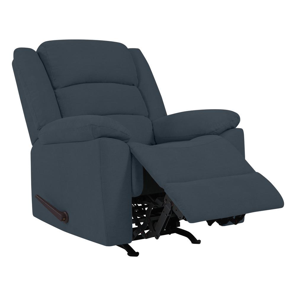 Rocker Caribbean Blue Plush Low-Pile Velour Recliner Chair