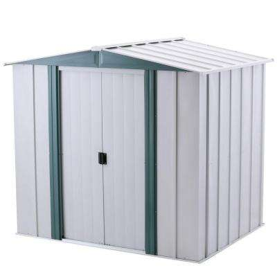 Hamlet 6 ft. W x 5 ft. D 2-Tone White Galvanized Metal Storage Shed with Floor Frame Kit
