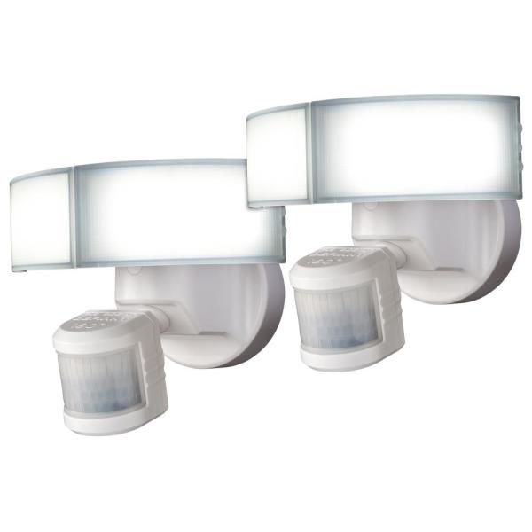 180-Degree White LED Motion Sensing Outdoor Security Flood Light (2-Pack)
