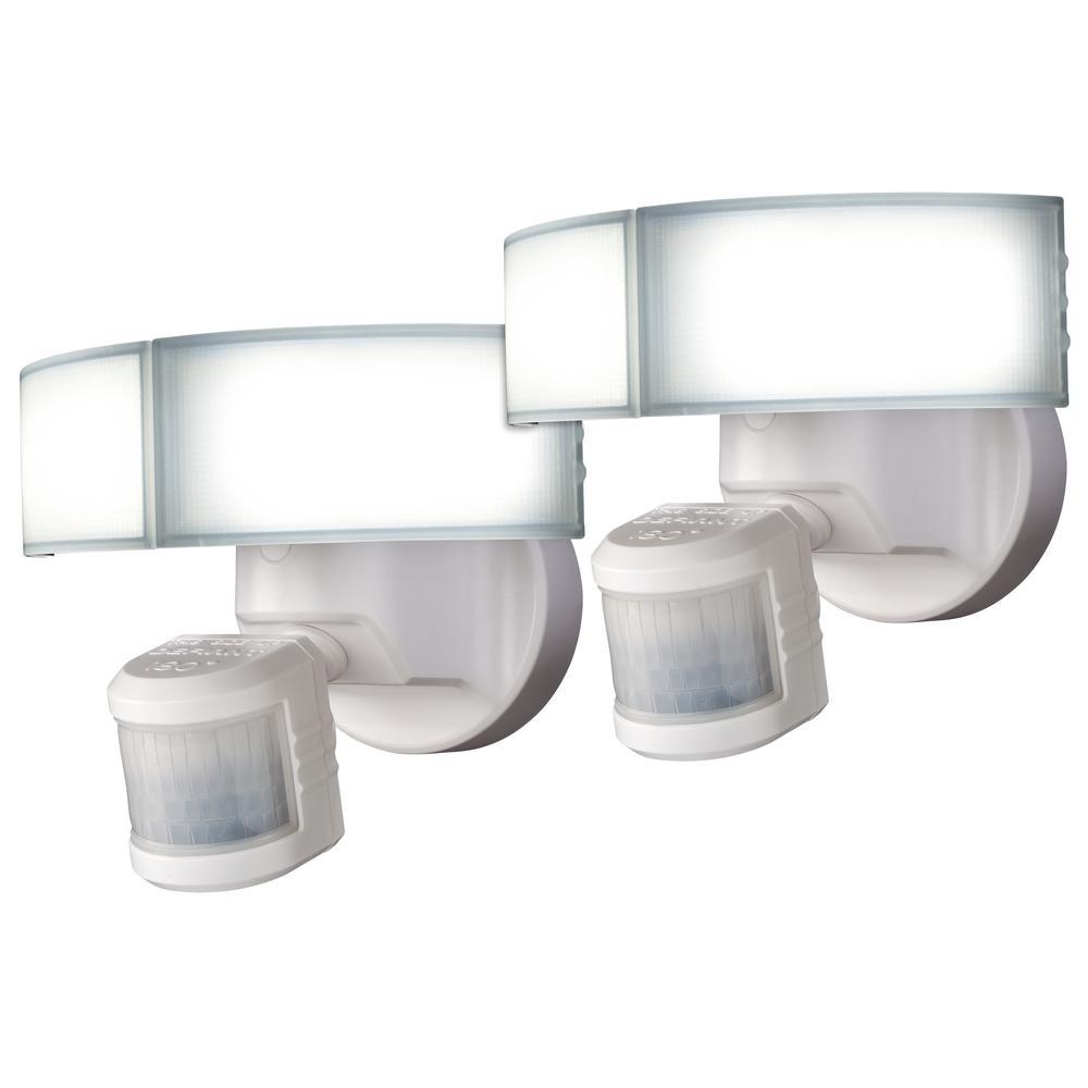 180-Degree White LED Motion Sensing Outdoor Security Flood Light (2-Pack)