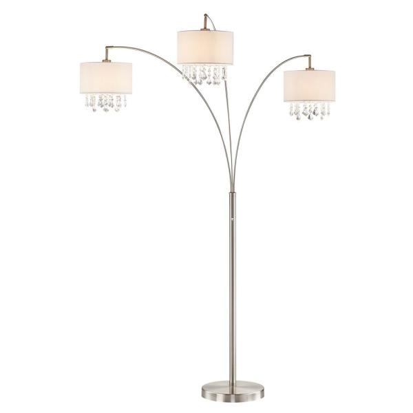 Lumiere IV 80 in. LED Crystal Arc Satin Nickel Floor Lamp/Dimmer
