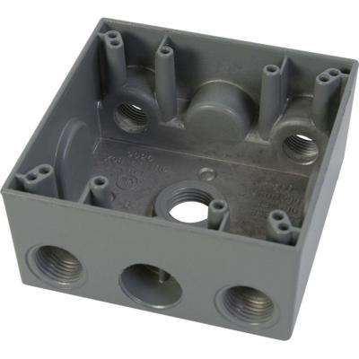 2 Gang Weatherproof Electrical Outlet Box with Five 1/2 in. Holes - Gray