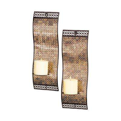 Kingsway 18 in. x 6 in. Iron In Kingsway Mosiac and Rustic Finish Wall Candle Holders (Set of 2)