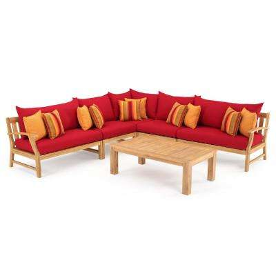 Kooper 6-Piece Wood Outdoor Sectional Set with Sunbrella Sunset Red Cushions