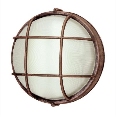 Bulkhead 1-Light Outdoor Rust Wall or Ceiling Mounted Fixture with Frosted Glass