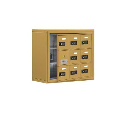 19100 Series 24 in. W x 20 in. H x 9.25 in. D 8 Doors Cell Phone Locker Surface Mount Resettable Lock in Gold