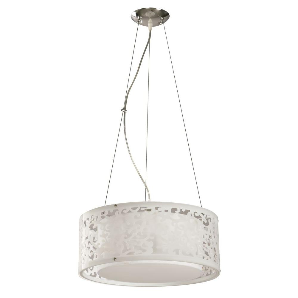 Hampton Bay 3 Light White Ceiling Drum Pendant