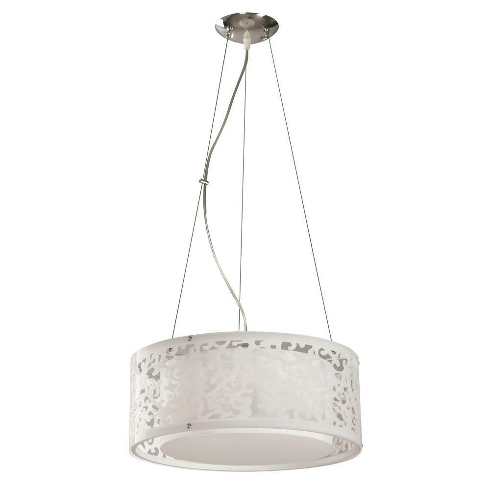 3-Light White Ceiling Drum Pendant