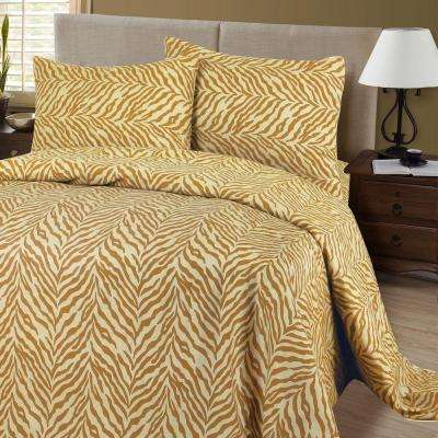 1200 Series 4-Piece Tiger 75 GSM King Microfiber Sheet Set