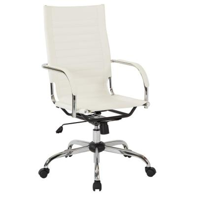 Trinidad High Back Office Chair with Fixed Padded Arms and Chrome Base and Accents in White Fabric