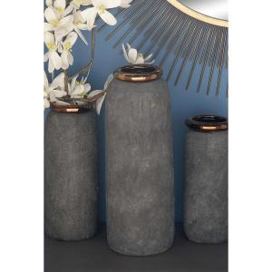 Click here to buy  17 inch Stoneware Decorative Vase in Textured Blue with Copper Accents.
