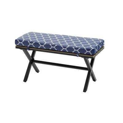 Laguna Point Brown Steel Wood Top Outdoor Patio Bench with CushionGuard Midnight Trellis Navy Blue Cushions