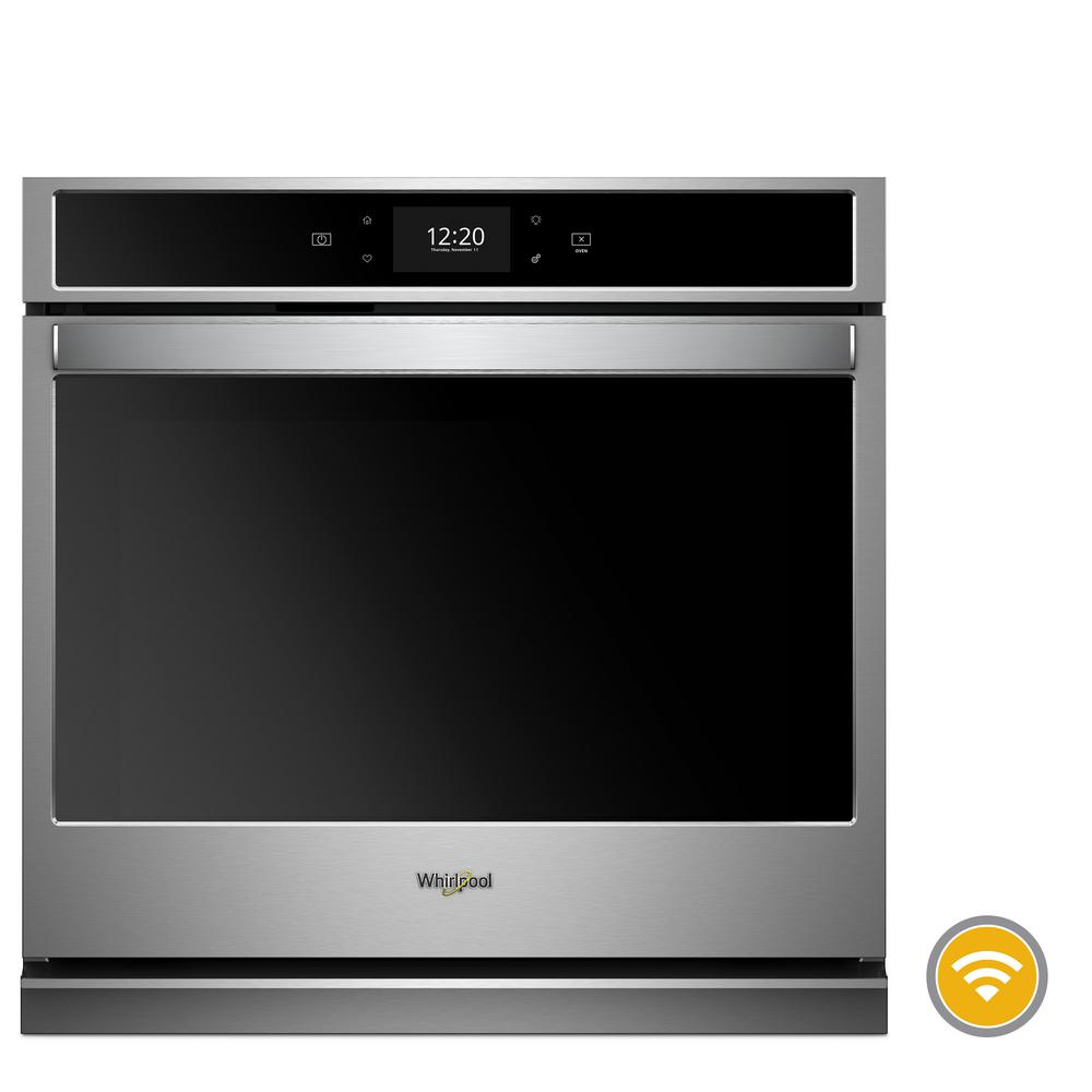 Whirlpool 27 in. Smart Single Electric Wall Oven with True Convection Cooking in Black on Stainless Steel