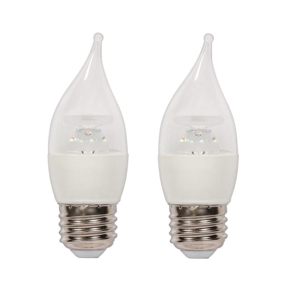 40W Equivalent Soft White C11 LED Light Bulb (2 Pack)