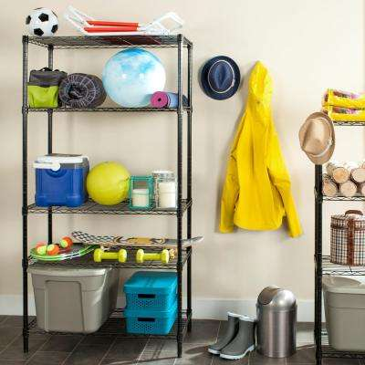 Alpha 4 Shelves Black Chrome Decorative Shelving Rack
