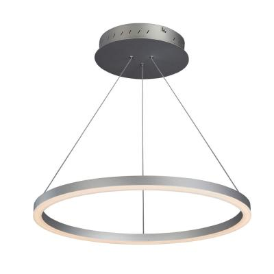 Tania Collection 36-Watt Silver Integrated LED Adjustable Hanging Modern Circular Chandelier 24 in.