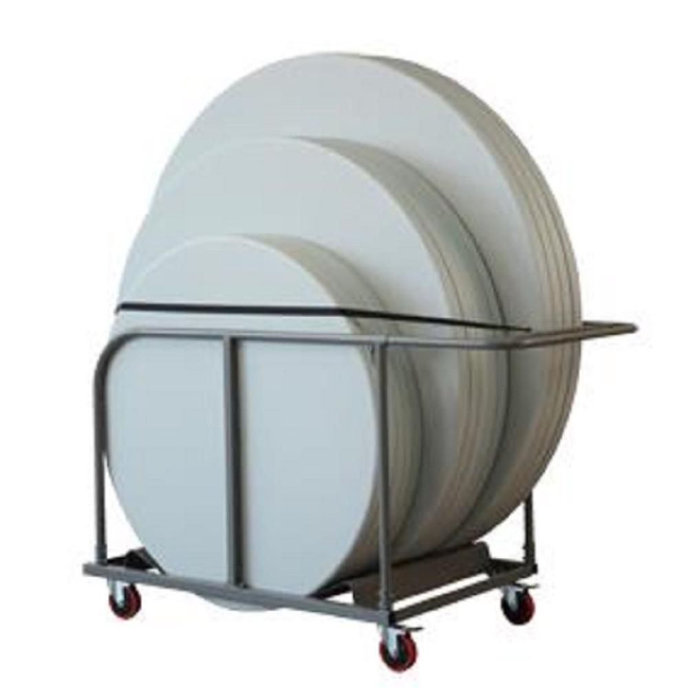Cosco Commercial Heavy Duty 4 Wheeled Powder Coated Steel Round Table  Trolley With Locking Wheels