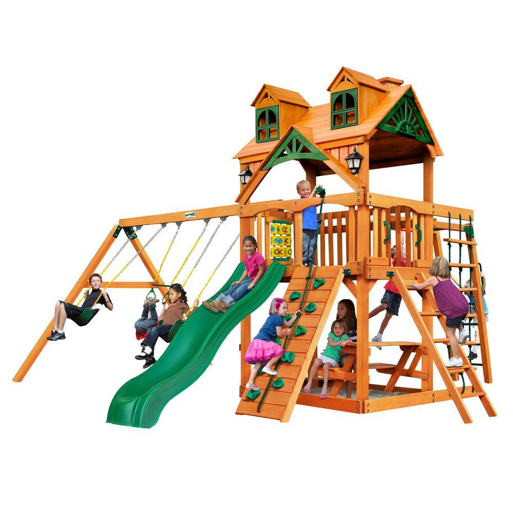 Gorilla Playsets Navigator Wooden Swing Set with Malibu Wood Roof and Monkey Bars