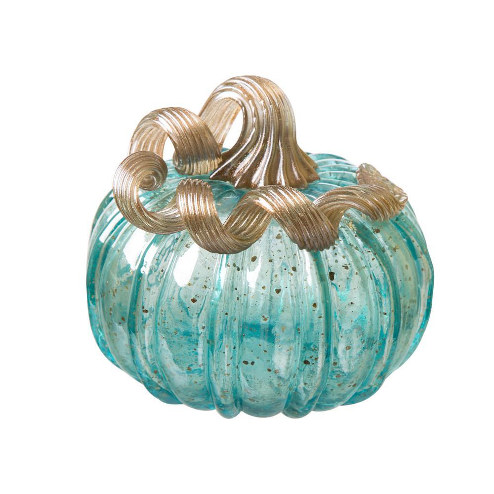 5.12 in. H Pumpkin Small Glass in Blue