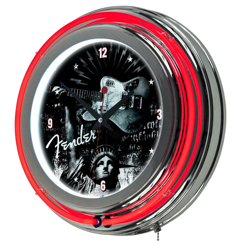 Trademark 14 in. Fender Lady Liberty Chrome Double Ring Neon Wall Clock