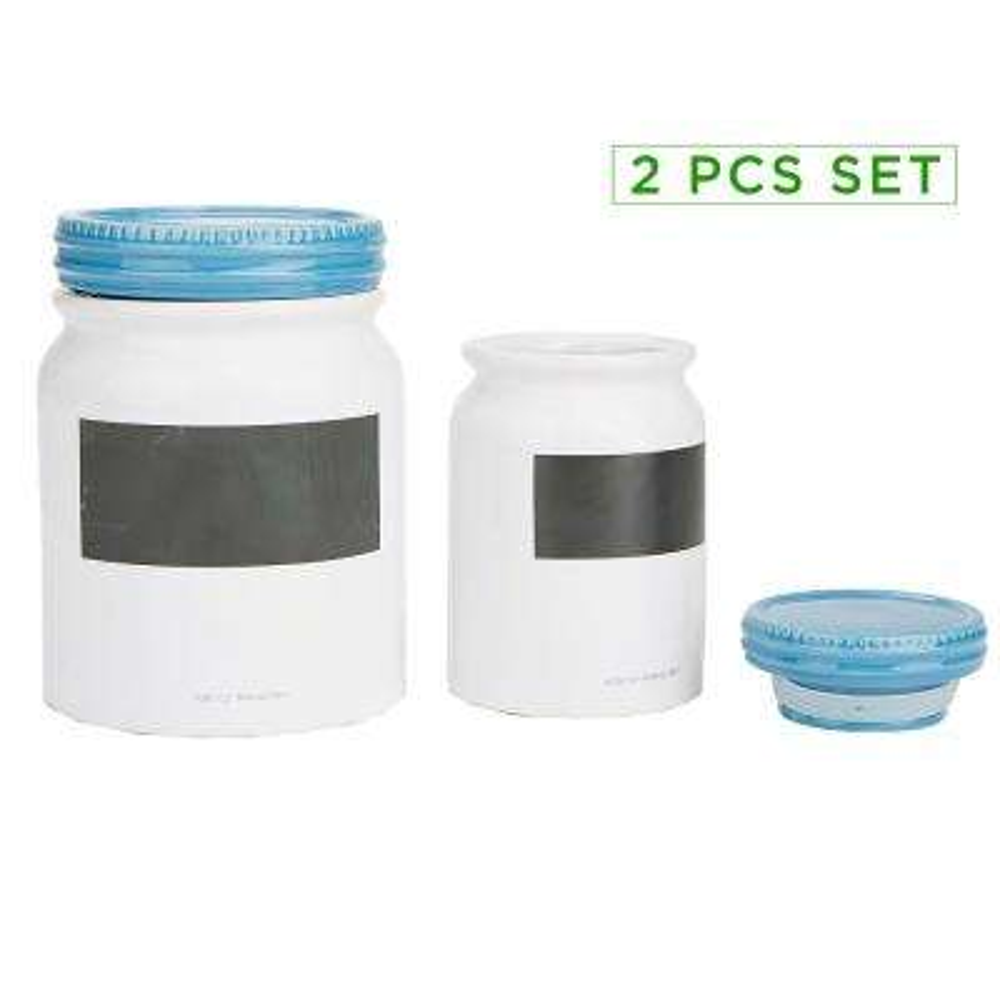 2-Piece Medium and Small Ceramic Jar Set with Lids, Blue