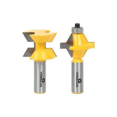Tongue and Groove Edge Banding up to 1 in. Stock 1/2 in. Shank Carbide Tipped Router Bit Set (2-Piece)