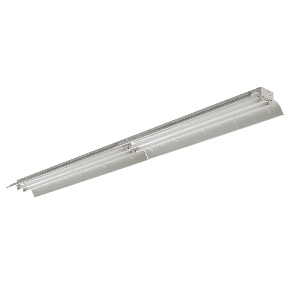 Fluorescent Light Fixtures Home Depot: Lithonia Lighting Tandem 4-Light White Fluorescent Ceiling