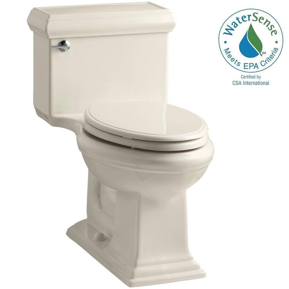 KOHLER Memoris Classic 1-Piece 1.28 GPF Single Flush Elongated Toilet with AquaPiston Flush Technology in Almond