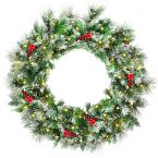 24 in. Pre-Lit Flocked Artificial Christmas Spruce Wreath with 50 LED Lights and Timer