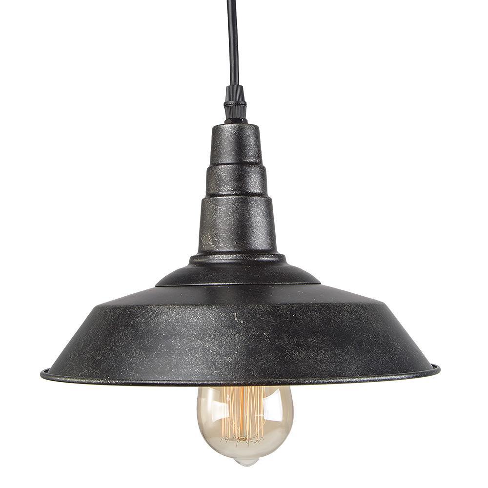 LNC 1-Light Blackened Steel Indoor Ceiling Hanging Pendant