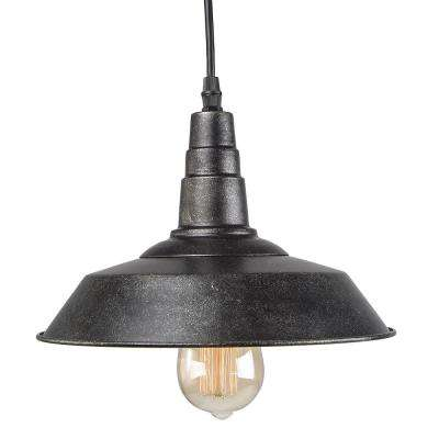 1-Light Blackened Steel Indoor Ceiling Hanging Pendant
