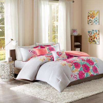 Mina 5-Piece Coral Full/Queen Floral Comforter Set