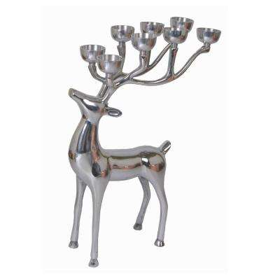 24.25 in. 8-Tea Light Silver Aluminum Reindeer Candle Holder