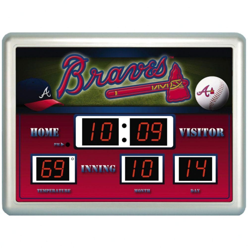 null Atlanta Braves 14 in. x 19 in. Scoreboard Clock with Temperature