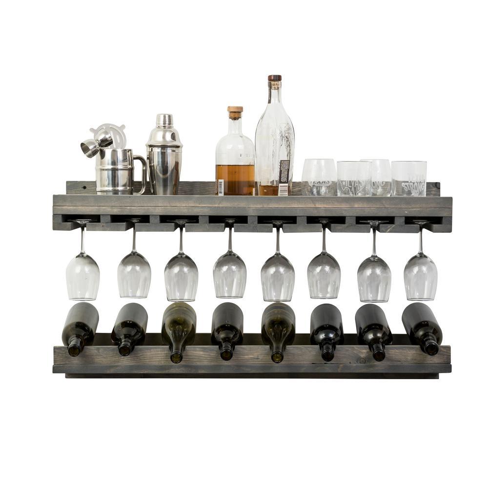 Rustic Luxe 8-Bottle Gray Wood Wall Mounted Wine Rack