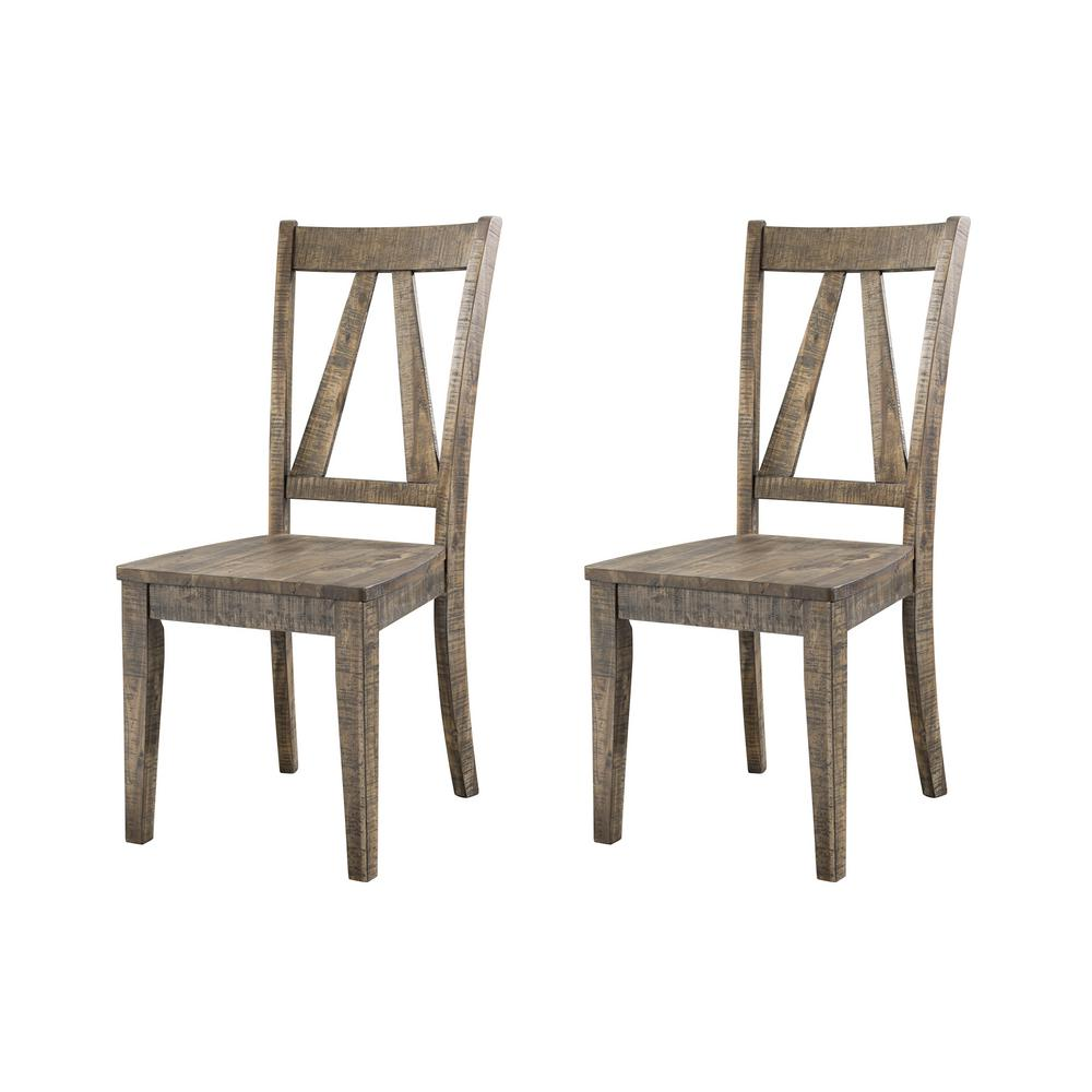 Flynn walnut wooden side chair set